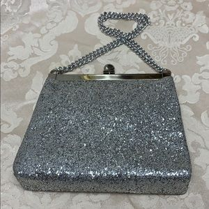 Vintage Silver Glitter Evening Bag with Chain